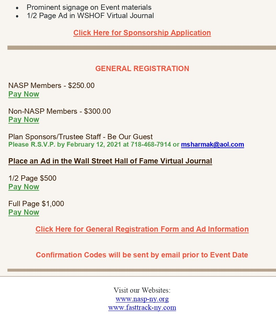 NASP NY Wall Street HoF